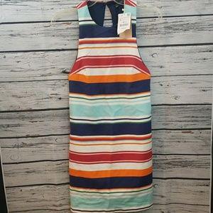 NWT Zara 🎉 striped sleevelesd open back dress Sml